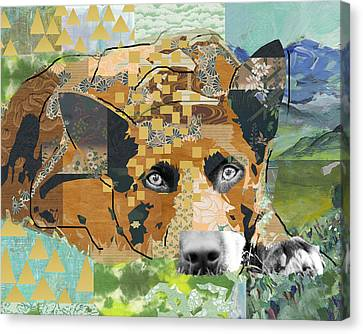 Dog Dreaming Collage Canvas Print