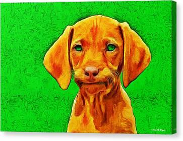 Dog Friend Green - Da Canvas Print by Leonardo Digenio