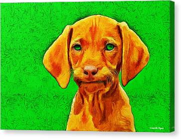 Dog Friend Green - Pa Canvas Print by Leonardo Digenio