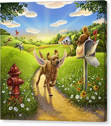 Dog Heaven With Wings Canvas Print