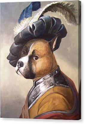 Canvas Print featuring the painting Dog In Gorget And Cap by Laura Aceto