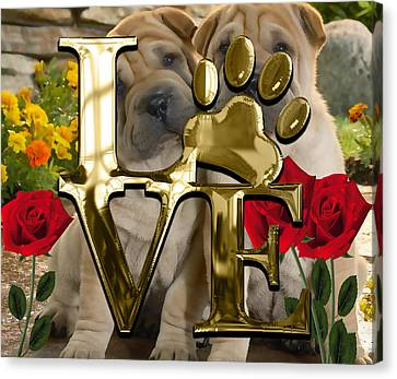 Dog Lover Collection Shar Pei Dogs Canvas Print by Marvin Blaine