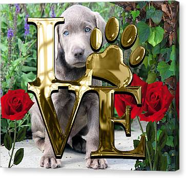 Dog Lover Collection Weimaraner Dog Puppy Canvas Print by Marvin Blaine