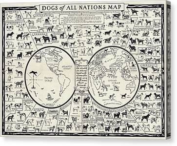 Dog Lovers Map 1936 Canvas Print