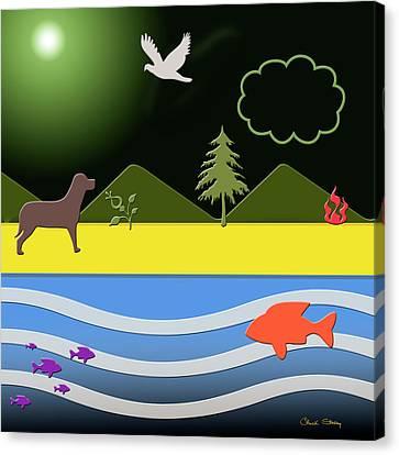 Canvas Print featuring the digital art Dog On Beach by Chuck Staley