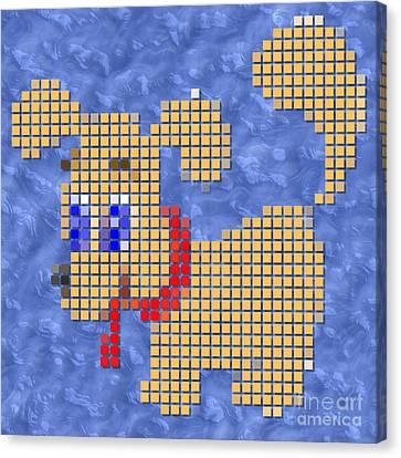Dog Pixelated Canvas Print by Miroslav Nemecek