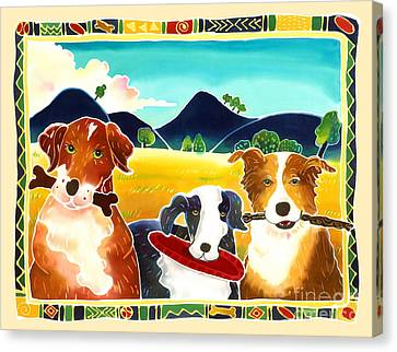 Dog Play Canvas Print by Harriet Peck Taylor