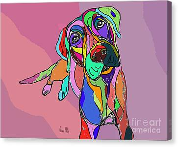 Dog Sketch Psychedelic  01 Canvas Print by Ania Milo
