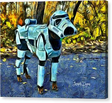 Dog Trooper Canvas Print by Leonardo Digenio