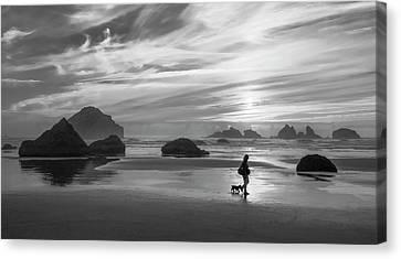 Dog Walker Bw Canvas Print