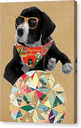 Dog Canvas Print - Dog With Ball by Claudia Schoen