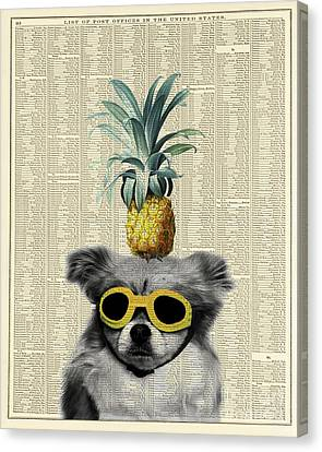 Dog With Goggles And Pineapple Canvas Print by Delphimages Photo Creations