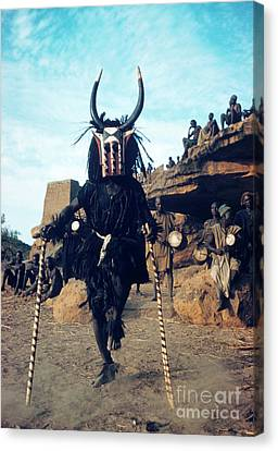 Drummer Canvas Print - Dogon Dancer Wearing Mask, Sudanese Republic by The Harrington Collection