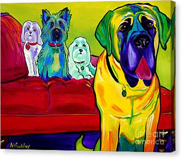 Dogs - Droolers Get The Floor Canvas Print by Alicia VanNoy Call