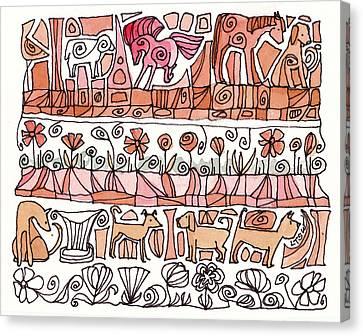 Dogs And Shapes Canvas Print by Linda Kay Thomas
