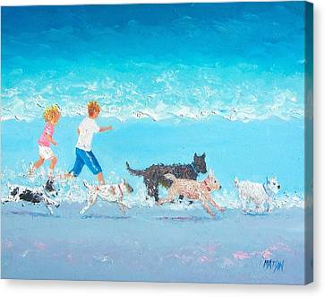 Dog On The Beach Canvas Print - Dogs Day Out by Jan Matson