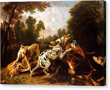 Dogs Fighting Canvas Print by Pg Reproductions
