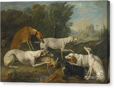 Dog In Landscape Canvas Print - Dogs In A Landscape With Their Catch by Celestial Images