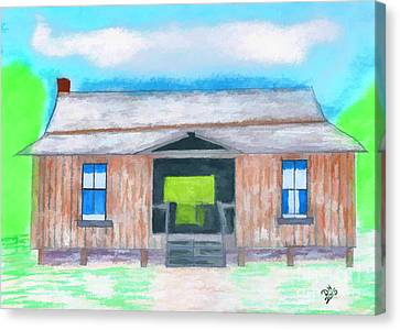 Dogtrot Cracker Home Drawing Canvas Print by D Hackett