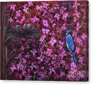 Canvas Print featuring the painting Dogwood Haven by Kristi Roberts