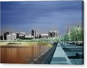 Doha Corniche In Infra-red Canvas Print by Paul Cowan
