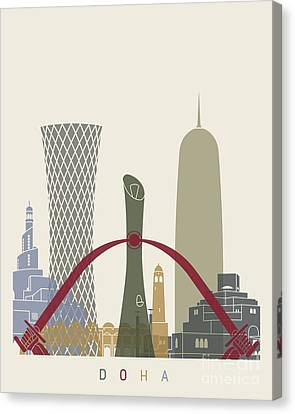 Doha Skyline Poster Canvas Print by Pablo Romero