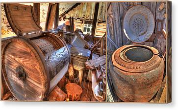 Wash Tubs Canvas Print - Doing Laundry In The Past by Donna Kennedy