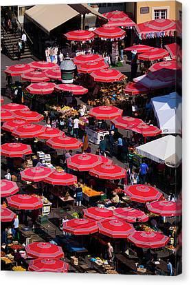 Dolac Market Umbrellas Canvas Print by Rae Tucker