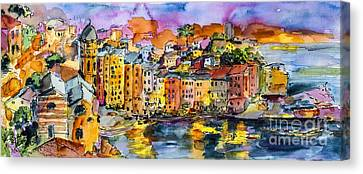 Dolce Vita In Vernazza Italy Canvas Print