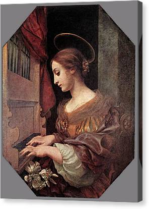 Dolci Carlo St Cecilia At The Organ Canvas Print by Carlo Dolci