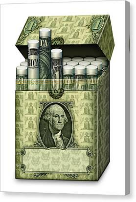 Dollar Cigarettes Canvas Print by James Larkin