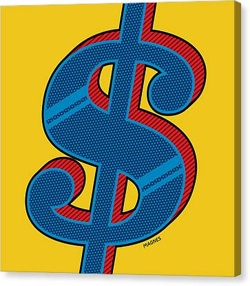 Canvas Print featuring the digital art Dollar Sign Blue by Ron Magnes