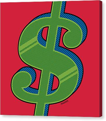 Canvas Print featuring the digital art Dollar Sign Green by Ron Magnes
