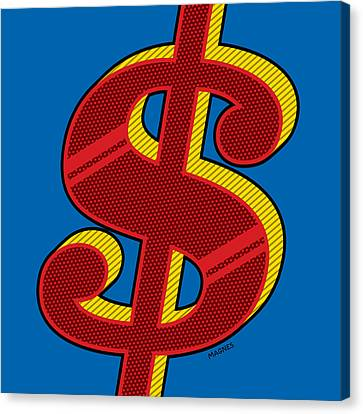 Canvas Print featuring the digital art Dollar Sign Red by Ron Magnes