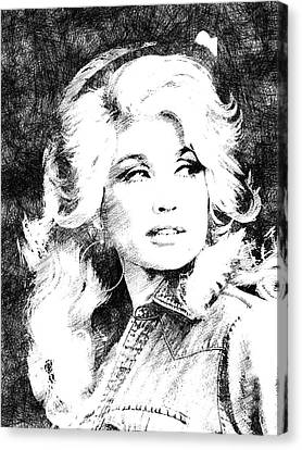 Dolly Parton Bw Portrait Canvas Print by Mihaela Pater