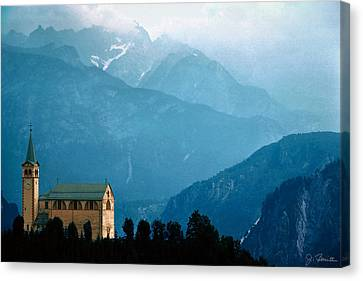 Dolomite Church Canvas Print by Joe Bonita