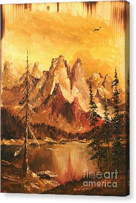 Canvas Print featuring the painting Dolomiti by Sorin Apostolescu