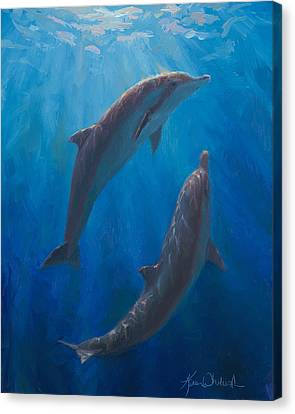 Canvas Print featuring the painting Dolphin Dance - Underwater Whales by Karen Whitworth
