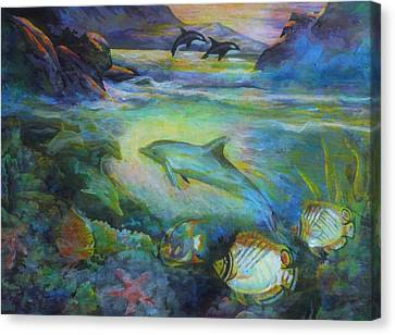 Canvas Print featuring the painting Dolphin Fantasy by Denise Fulmer