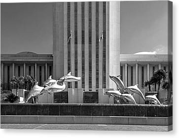 Dolphin Fountain In Black And White Canvas Print by Frank Feliciano