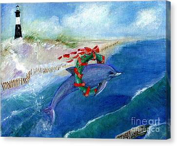 Dolphin Holiday Canvas Print by Doris Blessington