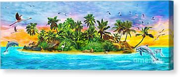 Dolphin Paradise Island Variant 1 Canvas Print by Jan Patrik Krasny
