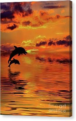 Canvas Print featuring the digital art Dolphin Silhouette Sunset By Kaye Menner by Kaye Menner