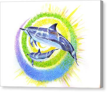 Dolphin -spiral Canvas Print by Tamara Tavernier