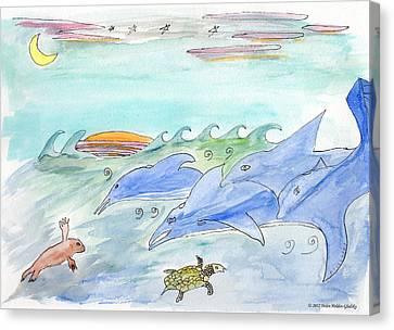 Dolphin Sunset Canvas Print