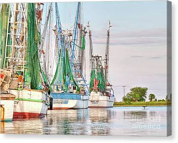 Dolphin Tail - Docked Shrimp Boats Canvas Print