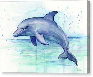 Dolphin Watercolor Canvas Print by Olga Shvartsur