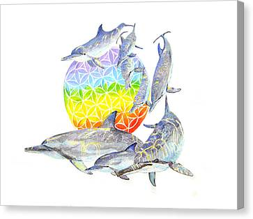 Dolphins-flower Of Life2 Canvas Print by Tamara Tavernier
