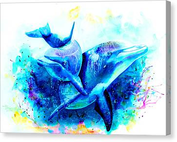 Dolphins Canvas Print by Isabel Salvador
