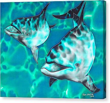 Dolphins Of Sanne Bay Canvas Print by Daniel Jean-Baptiste
